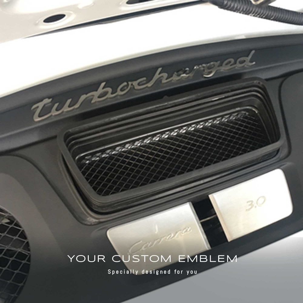 Porsche 'Turbocharged' Emblem made of 100% Stainless steel installed on the rear deck lid of the all new Carrera 3.0 - Design done as requested