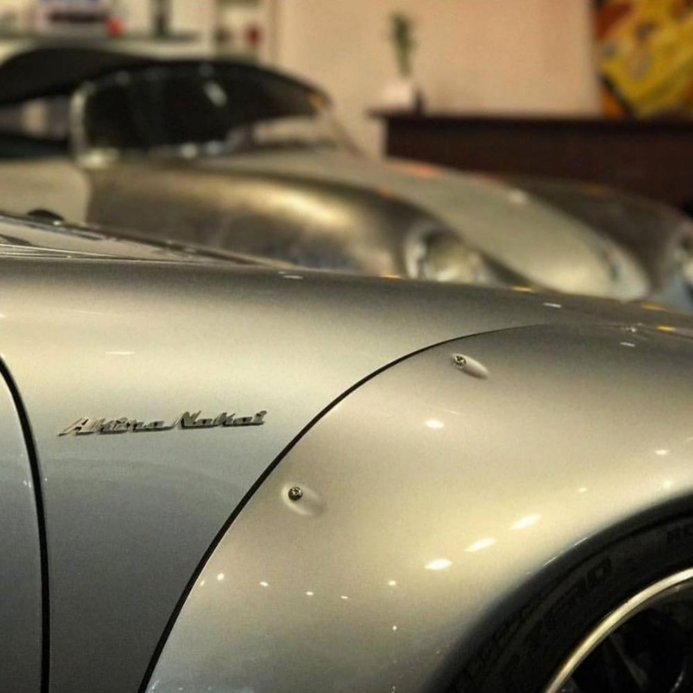 Akira Nakai Custom made Emblem installed on his own RWB Porsche Carolina