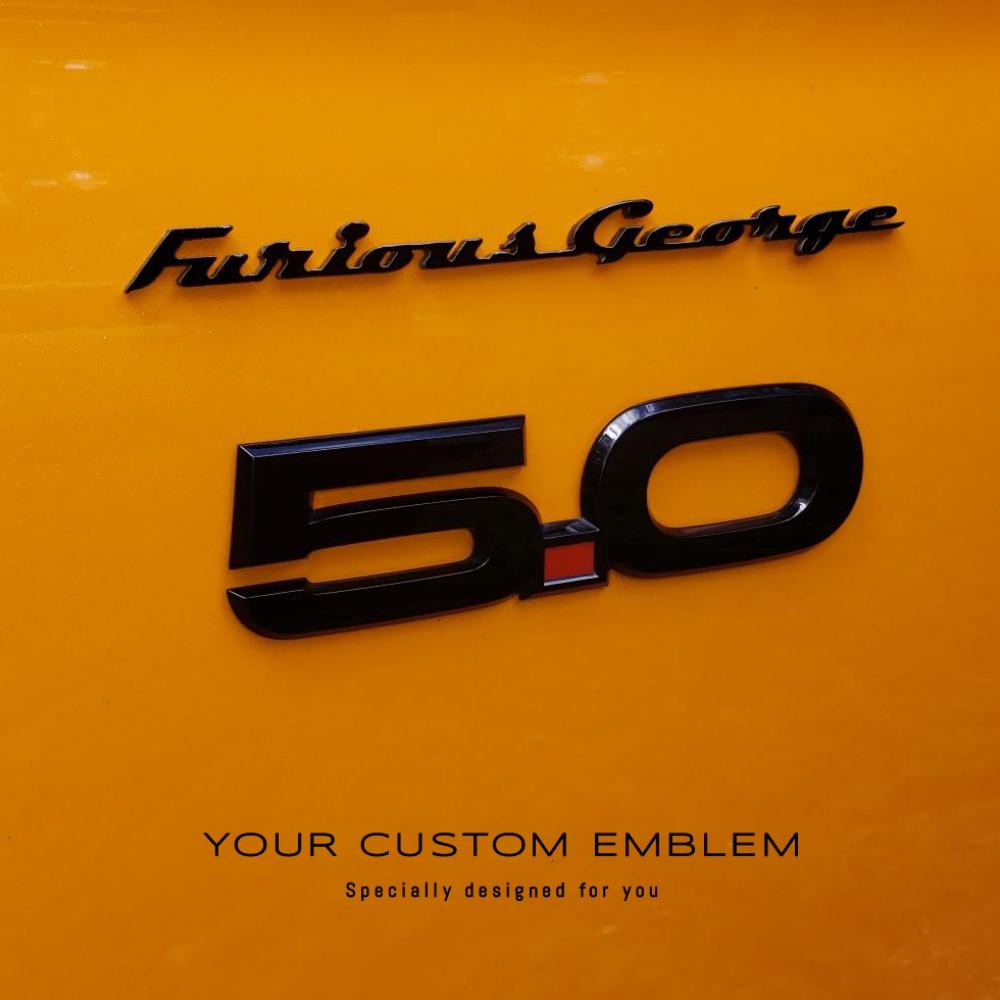 Furious George Emblem painted in Black metallic installed on his Orange Mustang