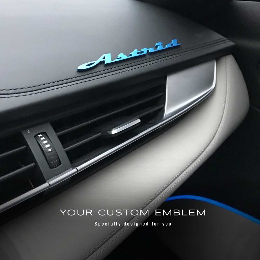 Astrid Emblem painted in Frozen blue as requested - Installed on his BMW I8