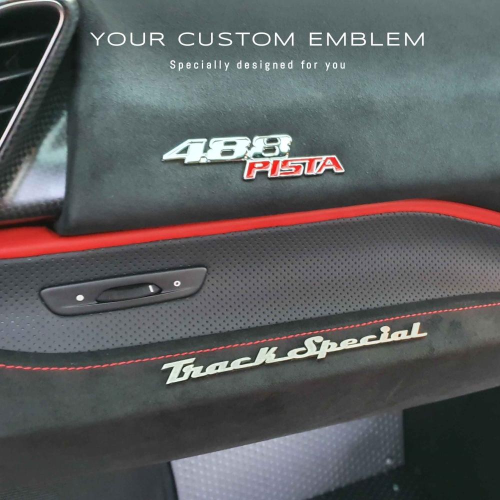 Track Special Emblem in 100% Stainless steel matt finishing installed inside the Ferrari 488 PISTA