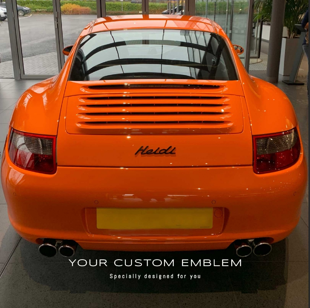 Heidi custom made Emblem painted in black installed on the #Porsche #911 - design as requested