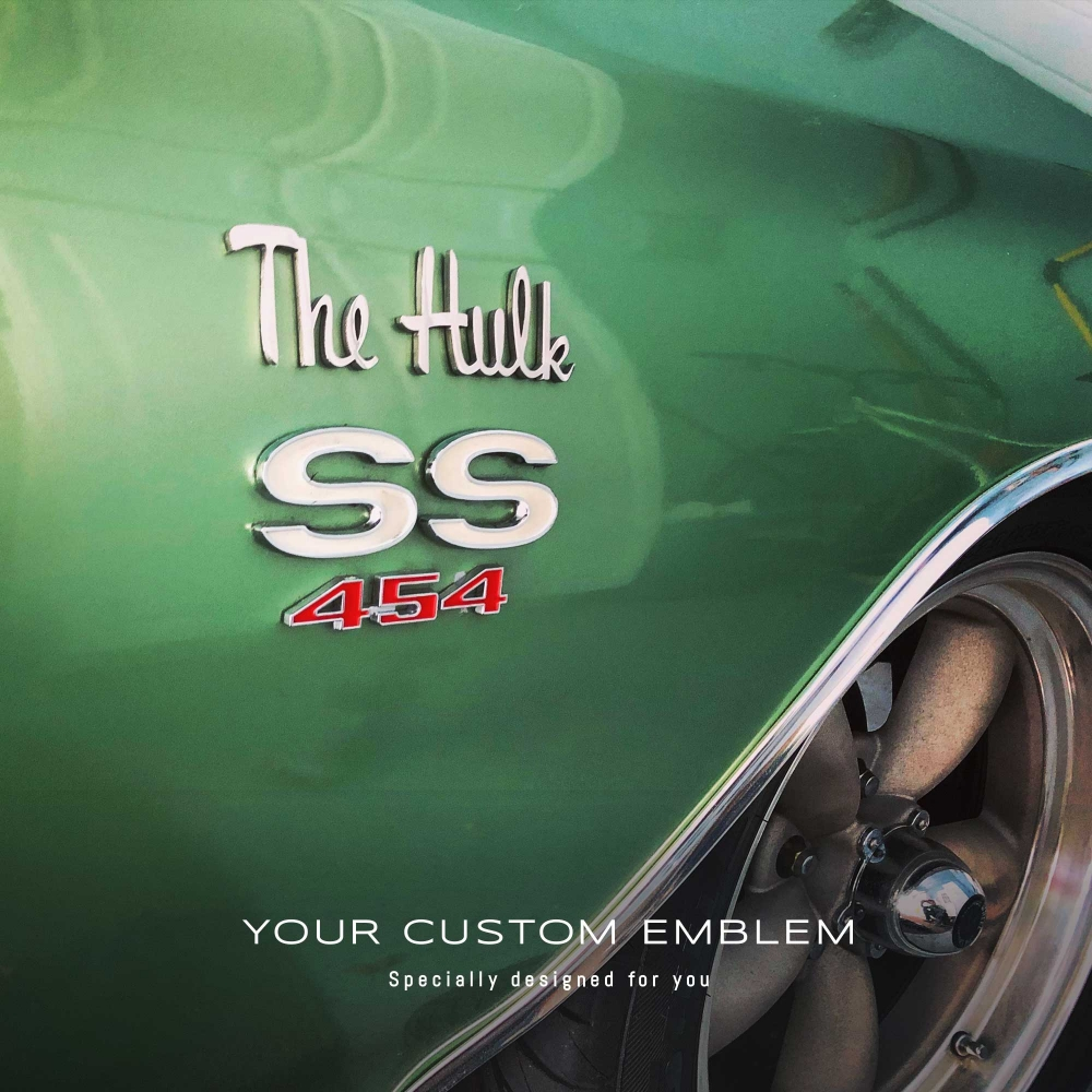 The Hulk Emblem installed on the Chevelle 1970 SS - design as requested