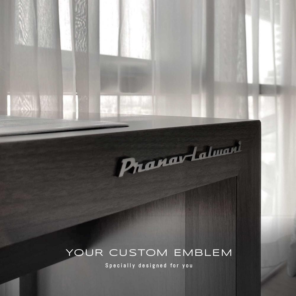 Pranav Lalwani Emblem in stainless steel matt finishing