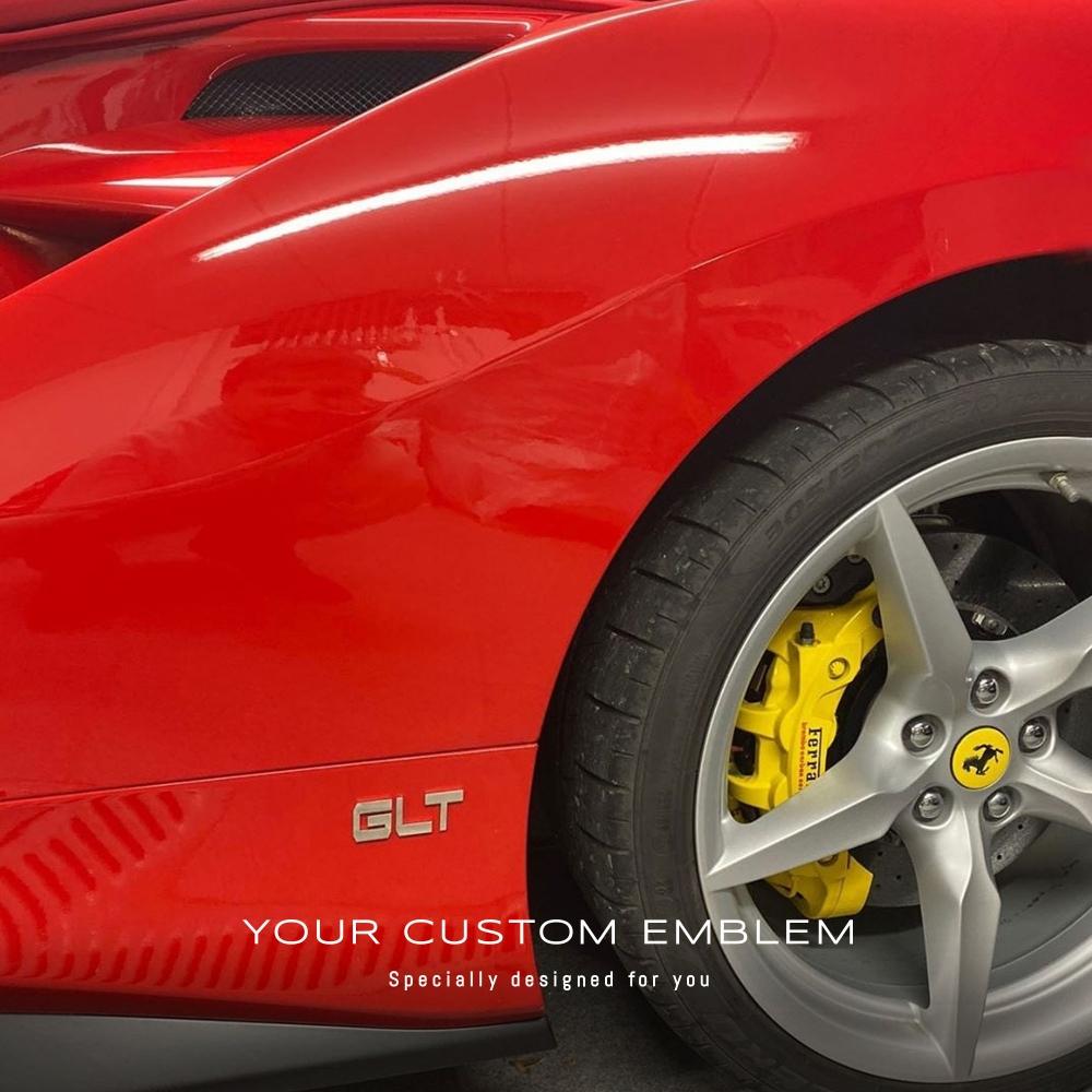 GLT Emblem installed on the Ferrari 488