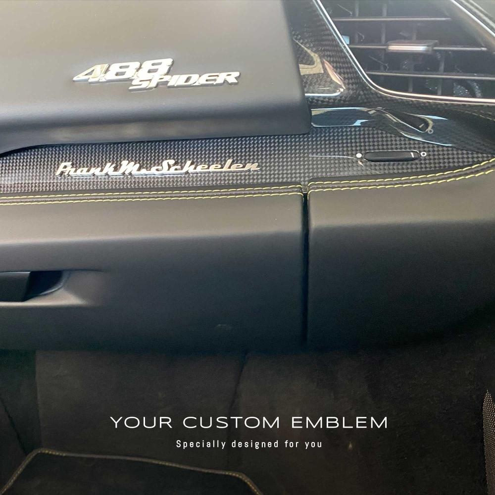 Frank M. Scheelen Emblem installed on the Ferrari 488 SPIDER