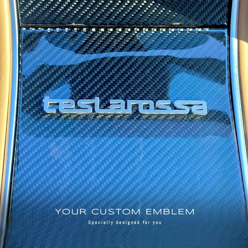 teslarossa Emblem in stainless steel matt finishing - design done as sent