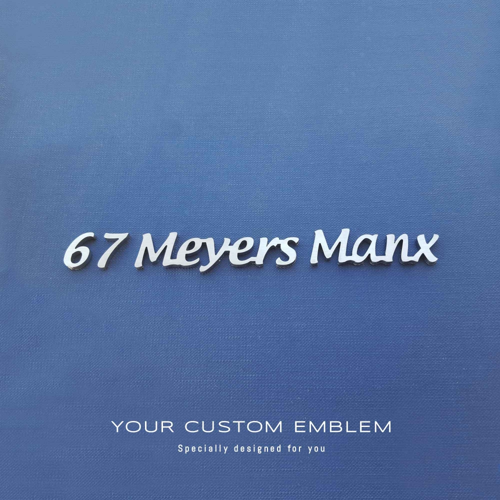 67 Meyers Manx custom made emblem in stainless steel