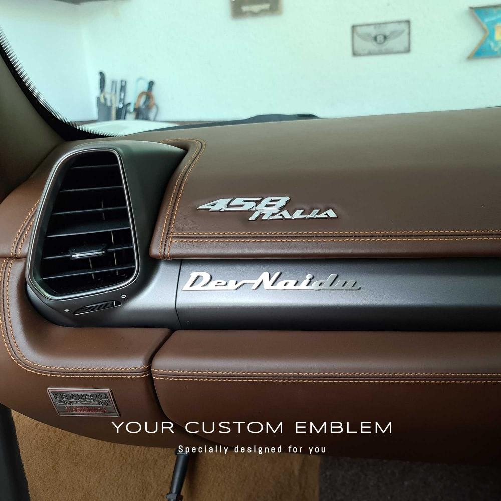 Dev Naidu custom Emblem in stainless steel matt finishing