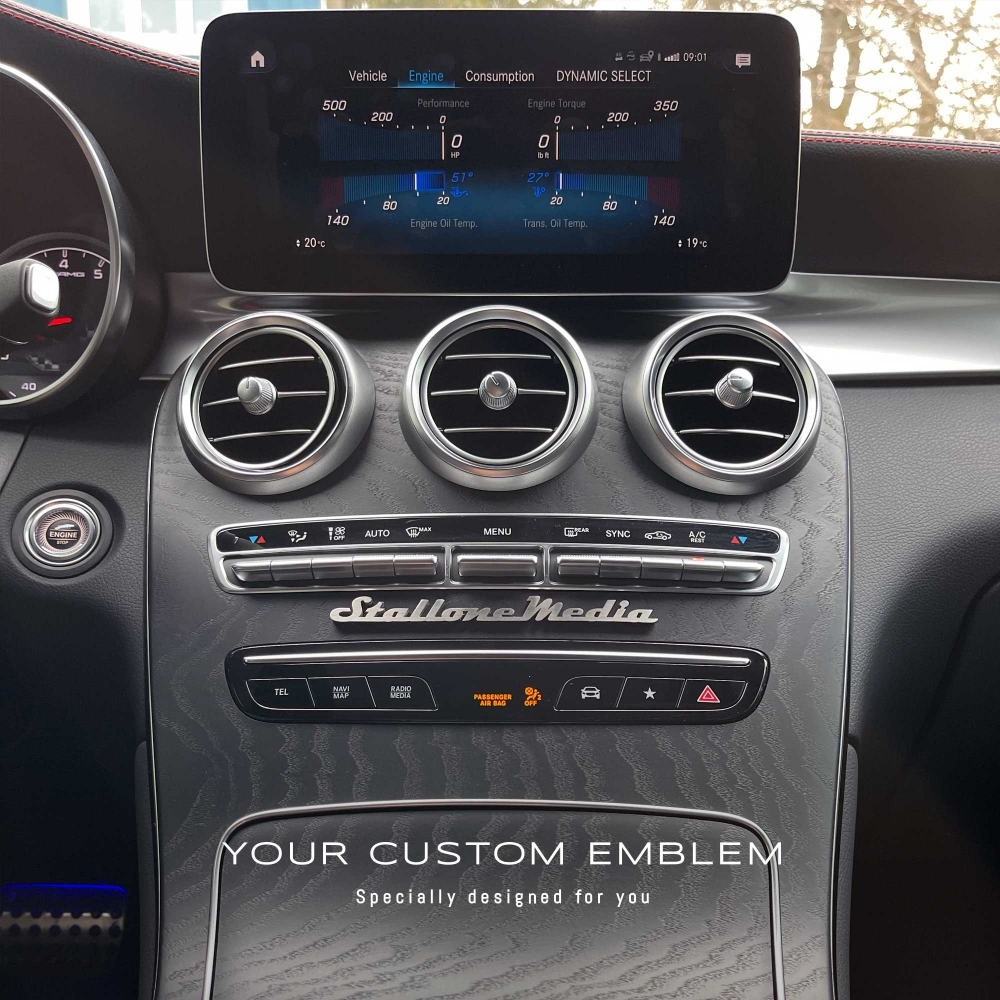 Stallone Media Emblem in stainless steel matt finishing on the AMG dashboard