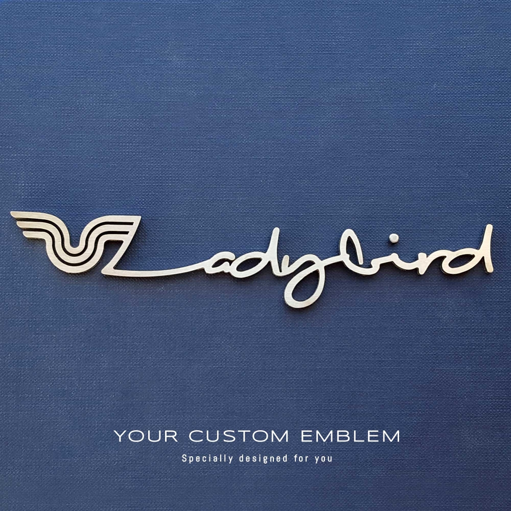 Lady bird custom made emblem in stainless steel - design was done as requested