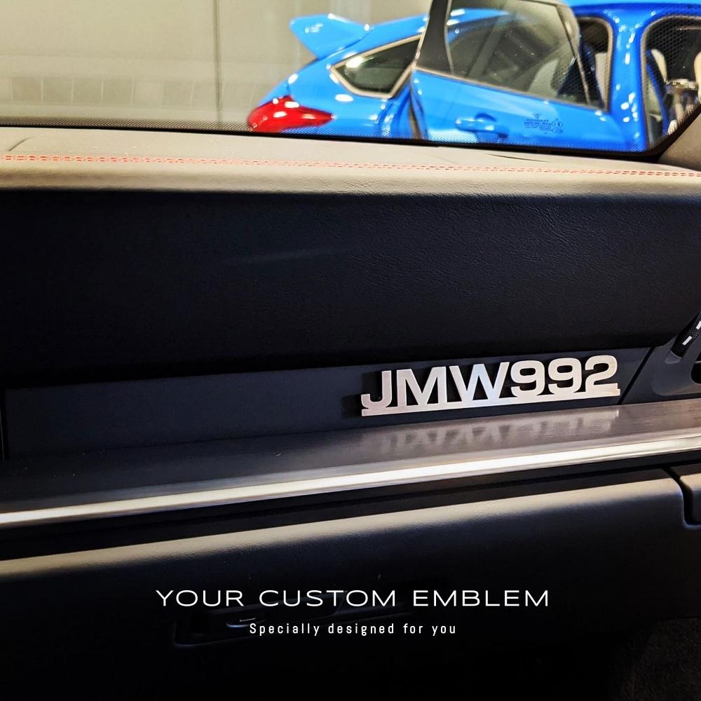 JMW 992 Emblem in stainless steel Matt finishing installed on the Porsche 992