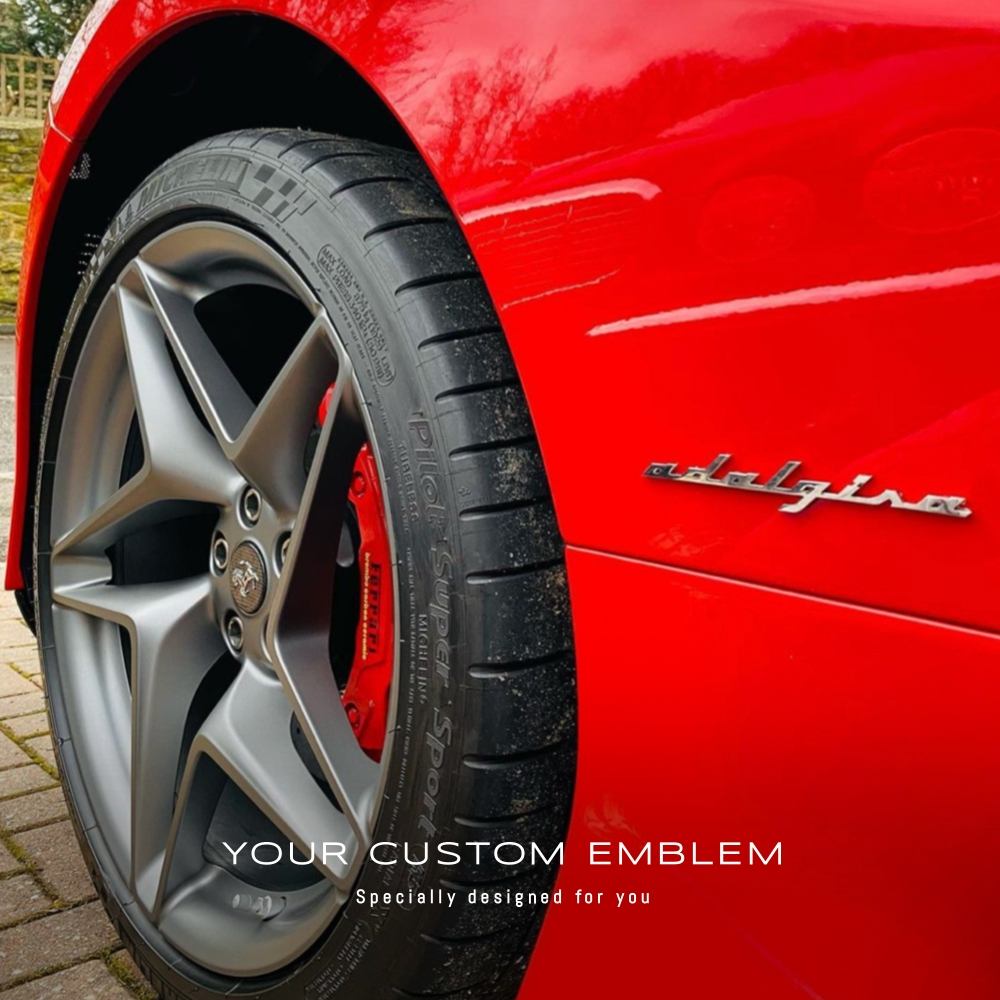 Adalgisa Emblem in stainless steel mirror finishing installed on the F8 Tribute
