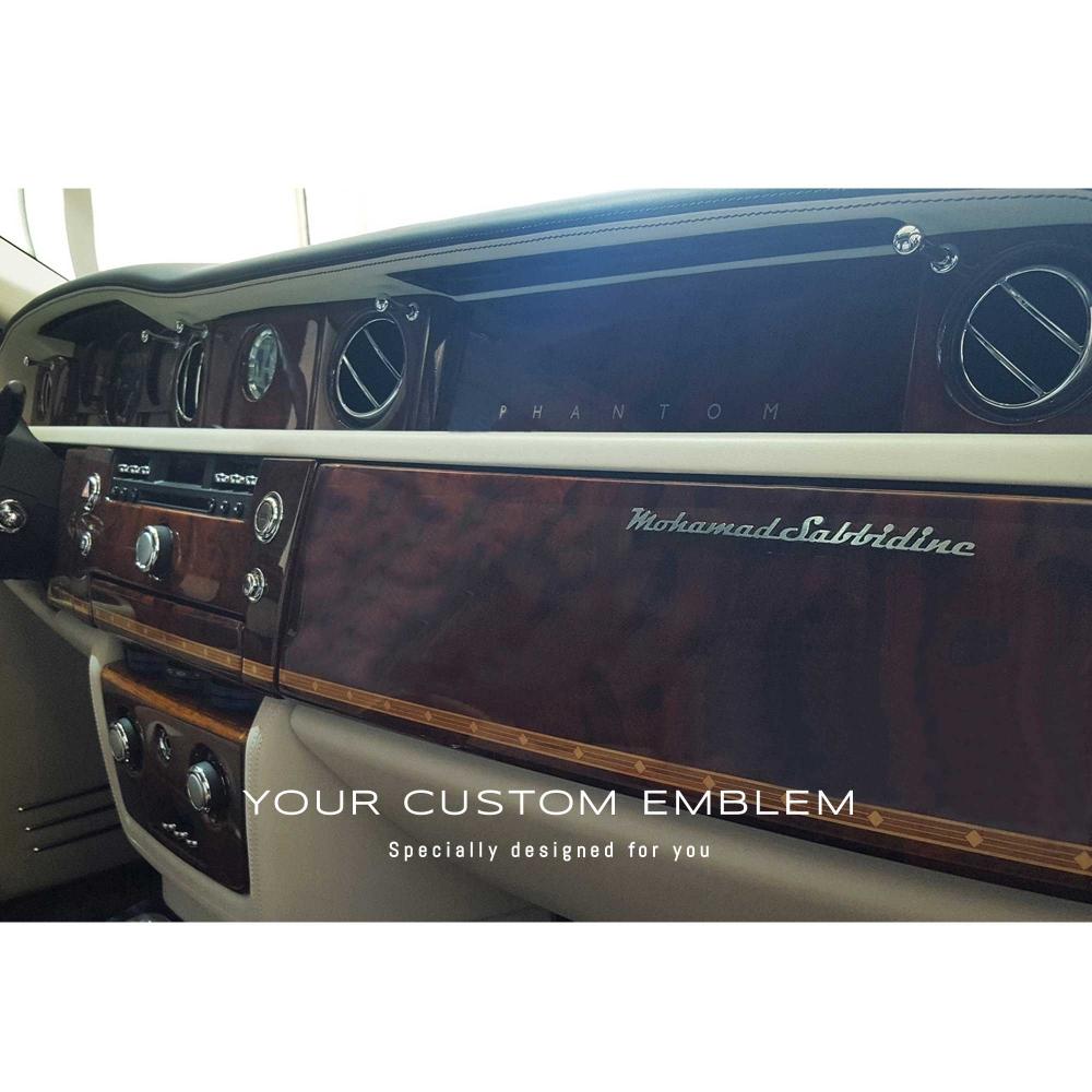 Mohamad Sabbidine's Emblem in stainless steel inside his Rolls Royce Phantom