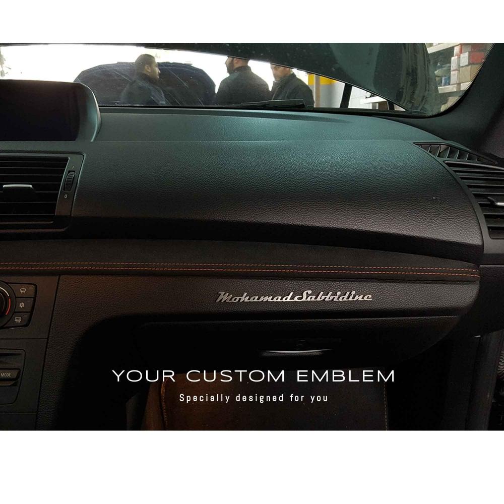 Mohamad Sabbidine's custom made emblem inside his BMW 1M