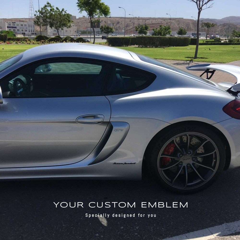 Issam Jandali's Custom Made Emblem painted in black installed on his Porsche Cayman Gt4
