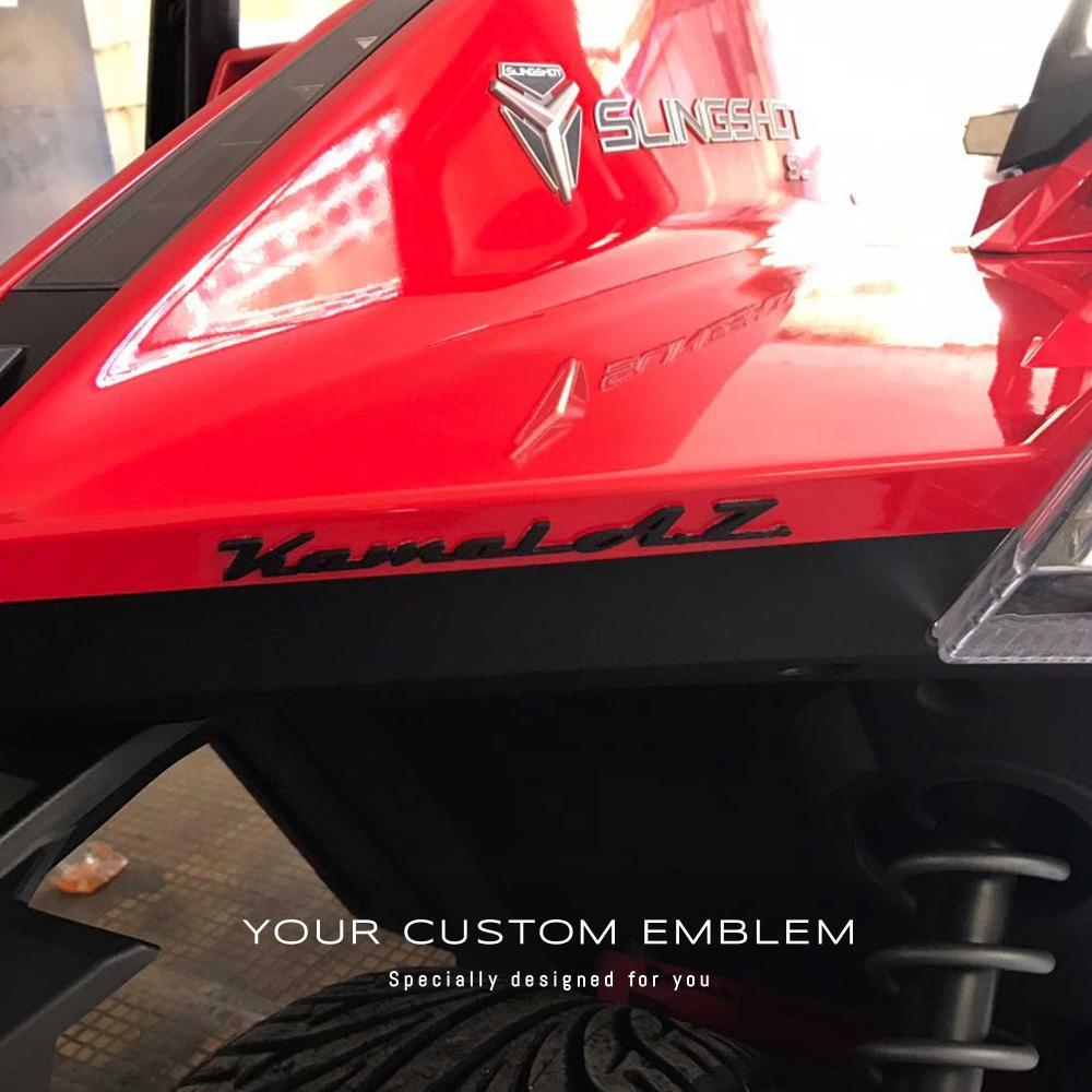 Kamal A.Z. custom made Emblem painted in black installed on his Polaris Slingshot